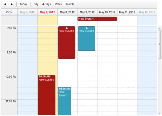 Dojo  Calendar Week View