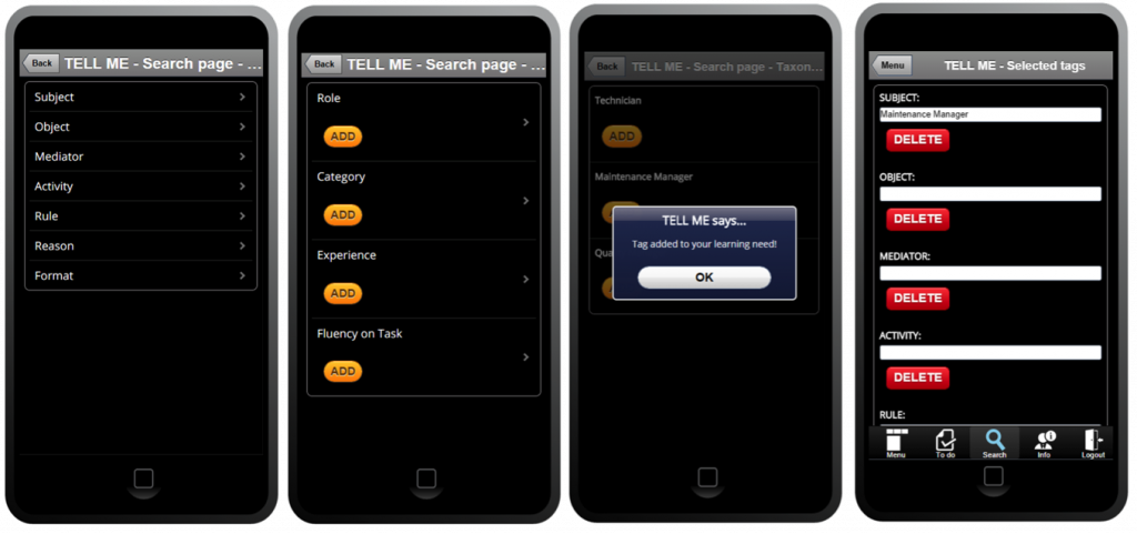 TELL ME Mobile UI – taxonomy tree tag selection